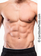 Muscular man body with six pack - Muscular fitness man torso...