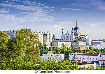 Almudena Cathedral of Madrid, Spain - Madrid, Spain skyline...