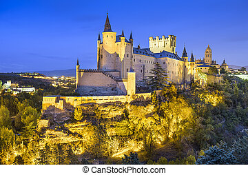 Segovia, Spain Alcazar at Night - Segovia, Spain town...