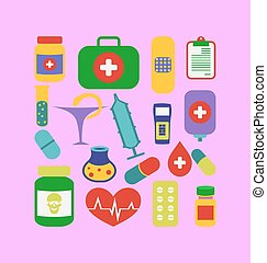 Set trendy flat medical icons