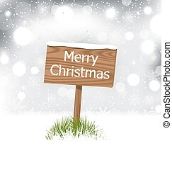 Snow covered wooden billboard, Christmas snowflakes...