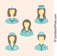 Icons set of medical nurses in modern flat design style -...