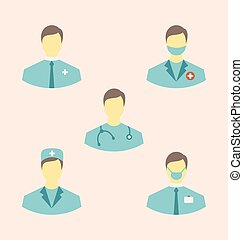 Icons set of medical employees in modern flat design style -...