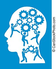 people working in gears brain - the concept background of...