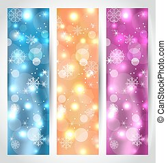 Set Christmas glowing banners with snowflakes