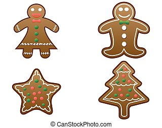 gingerbread cookies set vector - isolated gingerbread...