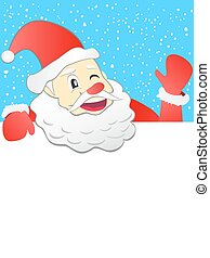 santa holding with signboard
