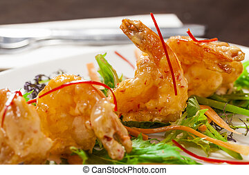 Tempura prawns - Chilli tempura prawns butterflied with...