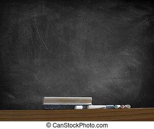 Blackboard - Duster and chalk in front of blackboard
