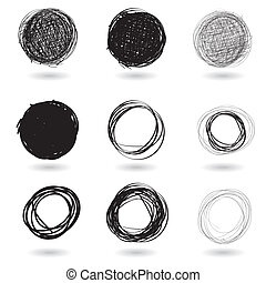 Series of pencil drawn circles - Illustration of a series of...