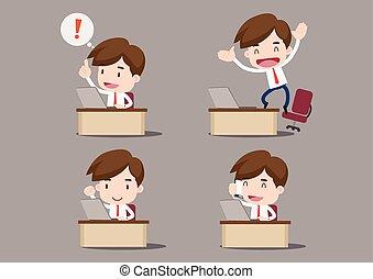 Businessman cartoon, at our desks - Businessman cartoon...