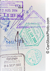 Passport stamps - Page of generic passport stamps from...