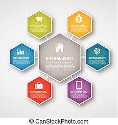 info graphics - hexagon - info graphics - colorful graph,...