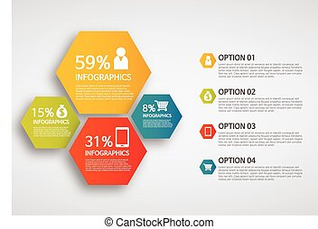 info graphics - colorful hexagon - info graphics - colorful...