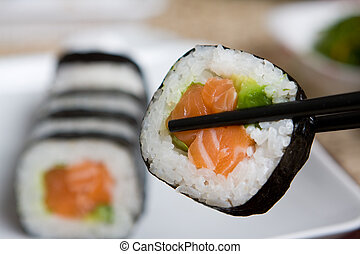 Plate of fresh salmon japanese sushi - Fresh japanese salmon...