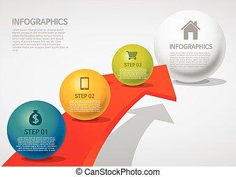info-graphic - sphere style - arrow