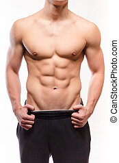 Shirtless muscular man sexi torso - studio shoot