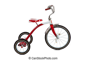 vermelho, triciclo, branca