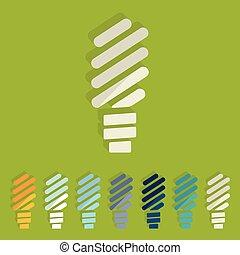 Flat design: fluorescent light bulb