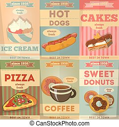Food Posters set. Advertise with Ice Cream, Hot dogs, Cakes,...