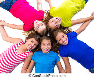 happy kid girls group smiling aerial view lying circle -...