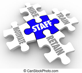 Staff Word Puzzle Pieces Hire Motivate Train Retain Human...