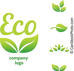 eco logo - eco or bio friendly company logo, green leaves on...