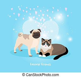 Cat and Dog Friends - Cat and Dog Forever Friends vector...