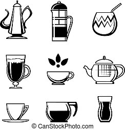 Tea Coffee or Chocolate Drink Icons - Assorted Black and...