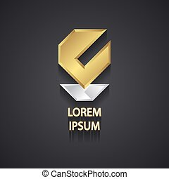 Abstract Gold and Silver Logo Design on Gray