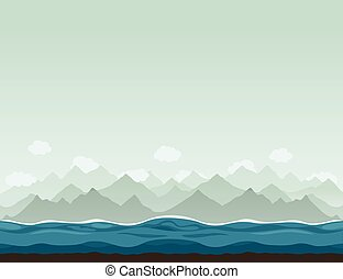 Mountains ashore2 - The sea against mountains. A vector...
