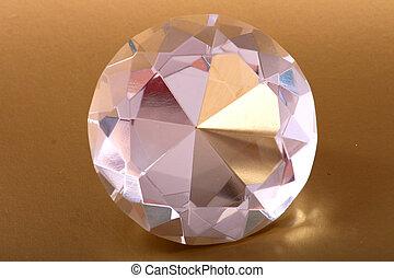 diamnod - very nice diamond isolated on the golden...