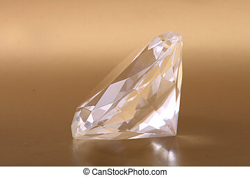 diamond - very nice diamond isolated on the golden...