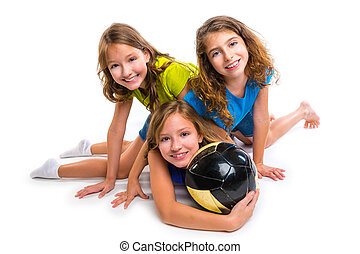 football soccer girls team portrait with ball on white...
