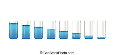 Illustration of chemical beakers with blue solution on white...