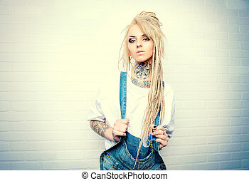manga girl - Modern teenage girl with blonde dreadlocks...