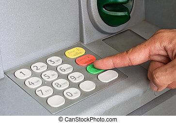 close-up, de, mão, Entrar, PIN/pass, código,...