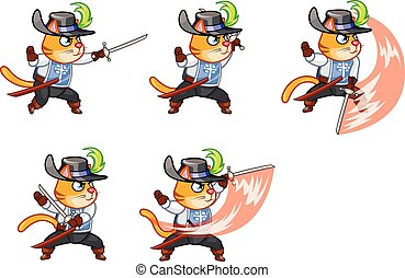Musketeer Cat Attacking Sprite - Set of Vector Illustration...
