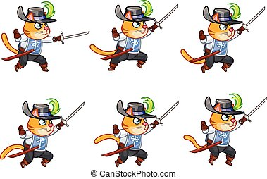 Musketeer Cat Jumping Sprite - Set of Vector Illustration of...