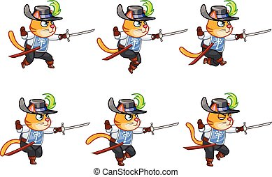 Musketeer Cat Running Sprite - Set of Vector Illustration of...