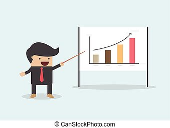 Businessman presenting and pointing the graph on board,...