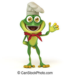 Chef frog say hello - 3d render cartoon of frog series