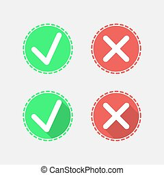 Check mark flat icons on gray background, 2d illustration,...