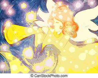 Stock Illustration Angel #2 - Angel With Trumpet and Stars