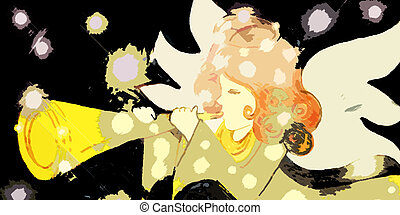 Stock Illustration Angel #4 - Angel With Trumpet and Stars