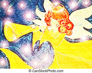 Stock Illustration Angel #7 - Angel With Trumpet and Stars