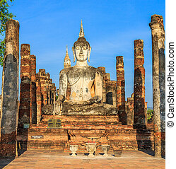 Sukhothai historical park, the old town of Thailand in 800...