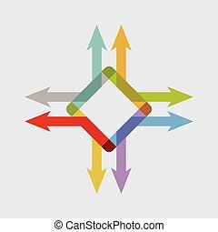 Color arrows, abstract illustration