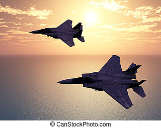 Combat Aircrafts - Computer generated 3D illustration with...