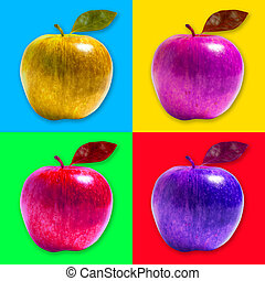 Apple pop art style - Strongly colored apples with various...